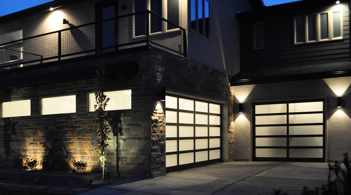new garage doors at night in Oregon City